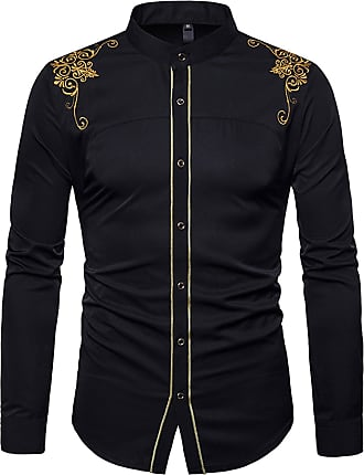Whatlees Mens Solid Long Sleeve Slim Fit Embroidery Overlap Design Button Down Dress Shirt Black 02020013XBlack+XL