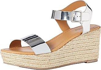 Qupid Womens Espadrille Wedge Sandal Silver Shiny Metallic Polyurethane 8.5 M US