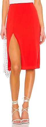Superdown Crystal Slit Midi Skirt in Red