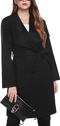 iClosam Womens Trench Coat Belted Thin Jacket Trench Pea Coat Overcoat Outwear Ladies Waterfall Long Sleeves Cardigan (Thick-Black, XXL)