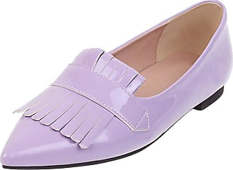 Mediffen Womens Pointed Toe Slip On Casual Tassels Flats Fashion Comfort Flat Shoes Purple Size 36 Asian