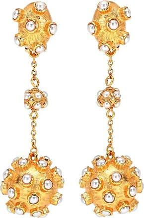 Oscar De La Renta Cabochon ball clip-on earrings