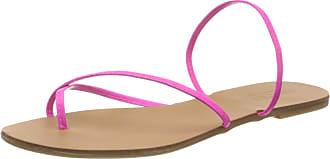 Pieces Womens Psannie Neon Leather Sandal Flat, Coral Haze, 3.5