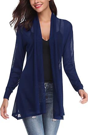 Abollria Women Summer Thin Cardigan Waterfall Light Weight Long Cardignas Jacket Navy Blue