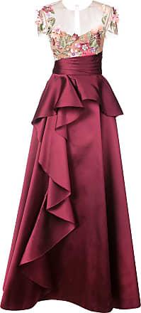 Marchesa floral-appliquéd gown - Red
