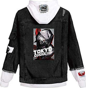Cosstars Anime Tokyo Ghoul Kaneki Ken Hooded Denim Jacket Unisex Cosplay Button Trucker Jeans Coat Black-1-S