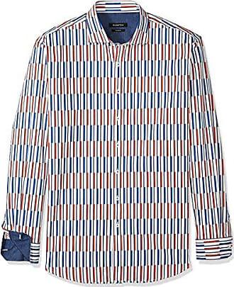 ff8f6fa6e Bugatchi Mens Printed Cotton Slim Fit Long Sleeve Spread Collar Shirt,  Tangerine L