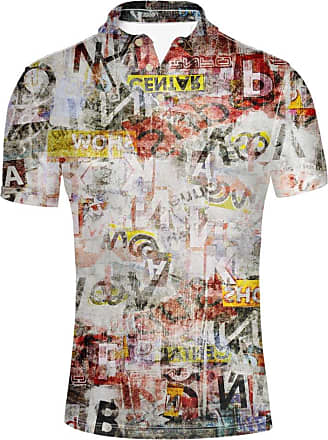 Hugs Idea Mens Golf Polos Shirt Short Sleeve Graffiti Vintage T-Shirt Hip Hop Hipster Tees