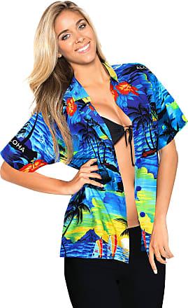 La Leela Womens Hawaiian Shirt Blouse Top Short Sleeve Casual Work Regular Fit Classic Summer Vacation Party Aloha L-UK Size:20-22 Blue_X52