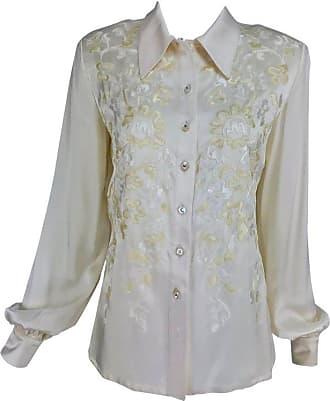 60bfc61897a66a Valentino Cream Silk Satin Embroidered Blouse