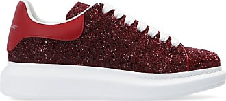 Alexander McQueen Glitter Sneakers Womens Red