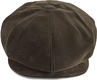 GFM Brown 8 Panel Baker Boy Cap hat in Faux Leather (ZM-WN1214)(BKB-MZ-RKEK-91)