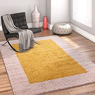 Well Woven 71214 Madison Cozumel Modern Border Gold Shag Thick Area Rug 33 x 53