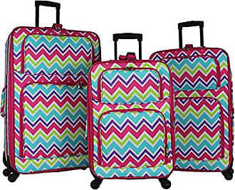 World Traveler 3-Piece Rolling Expandable Spinner-Pink Trim Chevron Multi