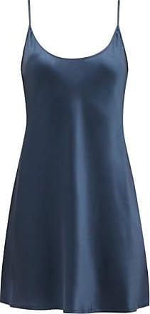 La Perla Scoop-neck Short Silk-satin Slip Dress - Womens - Dark Blue