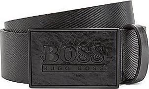 BOSS Ledergürtel mit Logo auf der lackierten Koppelschließe