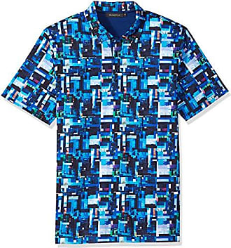 Bugatchi Mens Shaped Fit Short Sleeve Three Button Polo Shirt, Turquoise, S