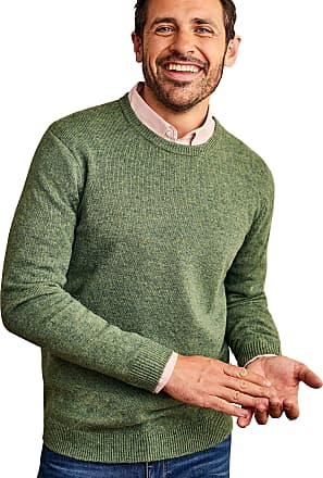 WoolOvers Mens Lambswool Crew Neck Jumper Mid Pea Marl, XXL