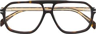 David Beckham Armação de óculos aviador com efeito tartaruga - Marrom