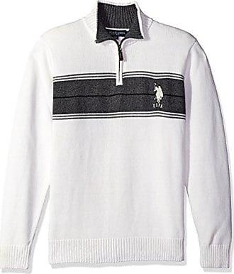 U.S.Polo Association Mens Chest Stripe 1/4 Zip Sweater, Winter White, X-Large