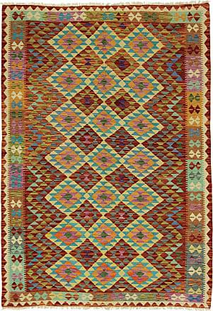 Nain Trading 248x175 Orientalischer Kelim Afghan Heritage Teppich Rost/Hellblau (Afghanistan, Wolle, Handgewebt)