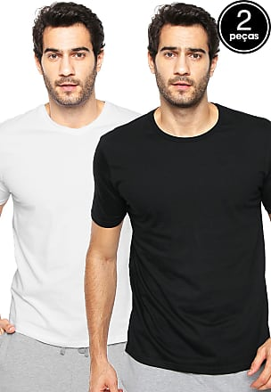 e244437c96 Calvin Klein Underwear Kit 2pçs Camisetas Calvin Klein Underwear Gola V  Preta Branca