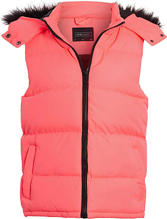 Shelikes Womens Ladies Body Warmer Black Faux Fur Hood Padded Gilet Jacket Size[Neon Pink UK 10]