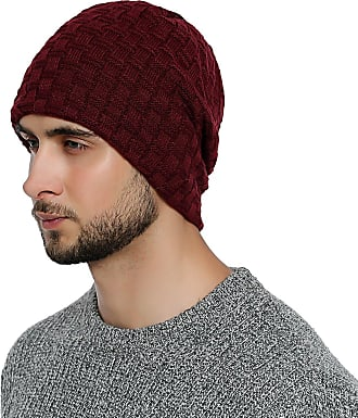DonDon mens Winter Beanie slouch style with very soft and comfortable to wear inner lining - Dark bed