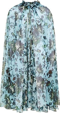 Erdem Perdita Fitzroy Rose-print Silk Cape - Womens - Blue Multi