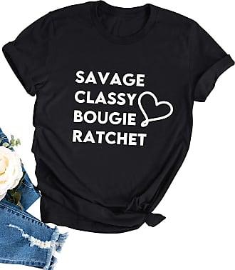 Dresswel Women Savage Classy Bougie Ratchet Letter Print T-Shirt Short Sleeve Tee Shirts Summer Tops Black