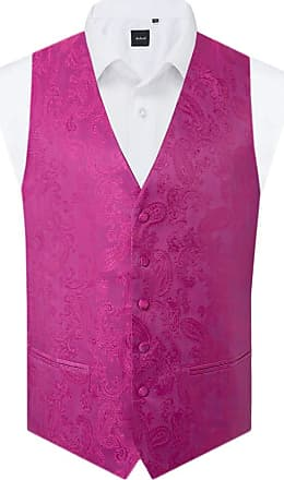 Dobell Mens Fuschia Paisley Waistcoat Regular Fit-2XL (50-52in)
