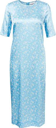 Ganni Seidenkleid mit floralem Muster Hellblau