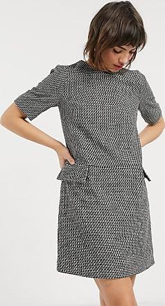 Warehouse check tweed dress in black