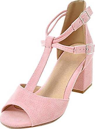 7a984d6f87fad5 Aiyoumei Peep Toe Sandalen mit 6cm Absatz und Schnalle T-spangen Sandalen  Sommer High Heels