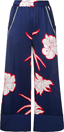 Pinko flower print flare trousers - Blue