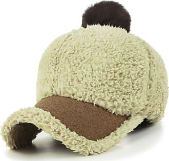 Ililily Short Faux Fur Baseball Cap Soft Pompom Adjustable Trucker Hat, Beige