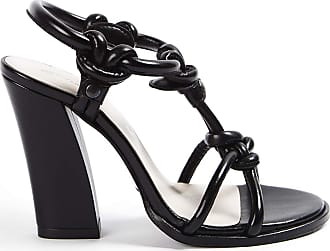 Opening Ceremony Leather Sandal with Strips and Knots, Leather Lined Heel 10 cm Black Size: 5/6 UK