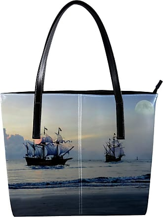 Nananma Womens Bag Shoulder Tote handbag Zipper Purse Top-handle Zip Bags - Pirate Ship