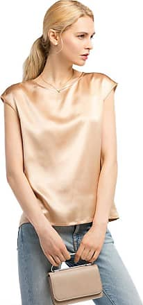 LilySilk Basic Cap Sleeves 22MM Silk T Shirt Relaxed Fit Round Neck Shirt for Ladies Light Camel Size M