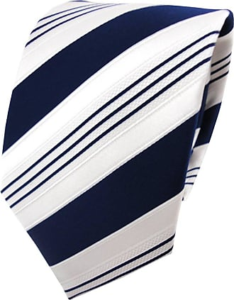 TigerTie Satin tie necktie in blue dark blue white silver striped