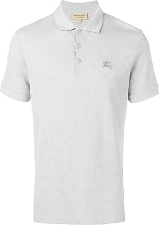 Burberry check placket polo shirt - Grey