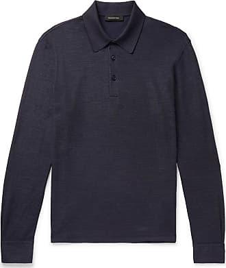 40cb7c623 Ermenegildo Zegna Textured Cotton And Silk-blend Polo Shirt - Navy