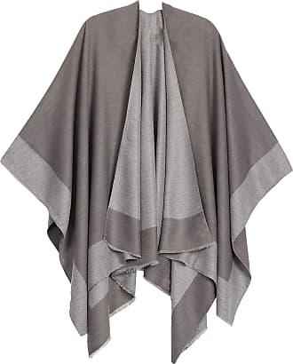 Sakkas 1925 - Nila Womens Reversible Open Front Large Poncho Shawl Wrap Scarf Cape Ruana - Gray - OS