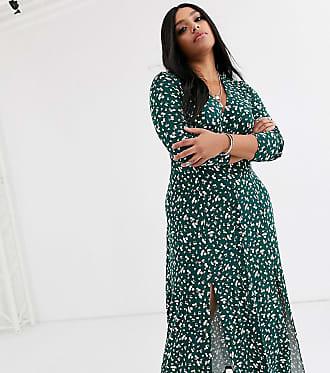 Asos Curve ASOS DESIGN Curve long sleeve button through maxi tea dress with splits in ditsy print-Multi