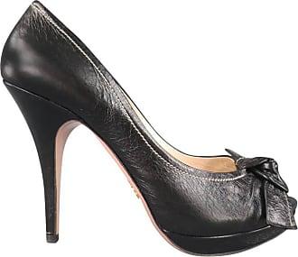 3631b9d24210 Prada Pumps Black Contrast Stitching Leather Peep Toe Knot Bow Platform