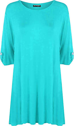 Be Jealous Womens Ladies Plus Size Button Short Turn Up Sleeves Flared Swing Dress Long Top Turquoise