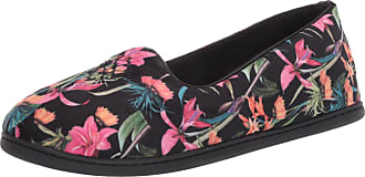 Dearfoams Womens Rebecca Velour Closed Back Slipper, Black Print, X-Large Wide