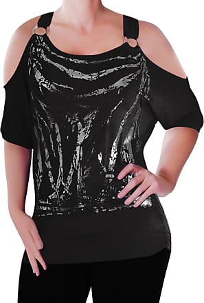 Eyecatch Mona Off The Shoulder Cut Out Graphic Womens Top Black M/L
