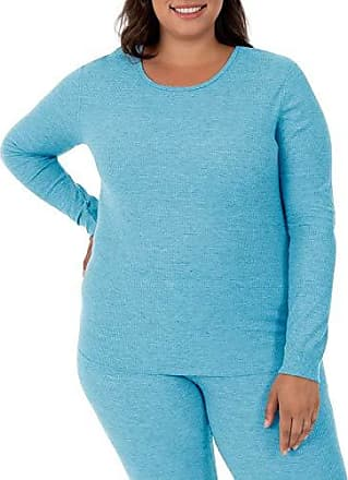 Fruit Of The Loom Womens Plus Size Waffle Thermal Crew Top, Teal Heather, 3X
