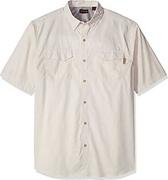 Wolverine Mens Big and Tall Pentwater Vented Back Plaid Big & Tall Short Sleeve Shirt, Stone, 3X-Large